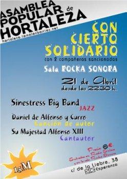 Concierto solidario en apoyo de las represaliadas del 15M en Hortaleza - Hortaleza en Red