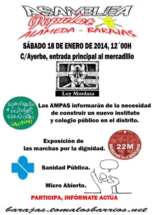 Asamblea el 18 enero 12:00 horas Mercadillo de Barajas