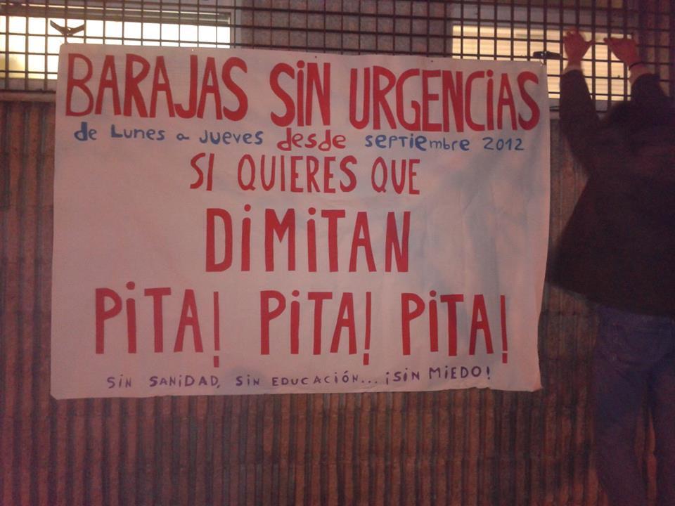 Nueva pancarta en urgencias de barajas