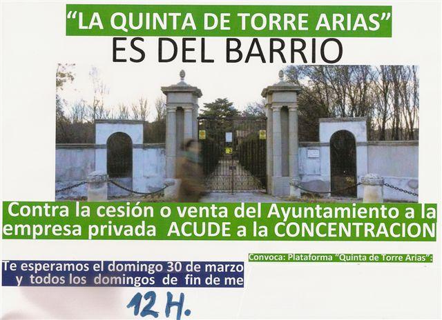 Domingo 30 de Marzo defendemos el Parque de Torre Arias