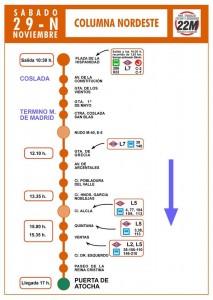 Itinerario y horarios de la columna noreste 29N