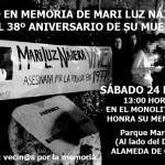 Acto en recuerdo de Mari Luz Nájera en el 38 aniversario de su muerte